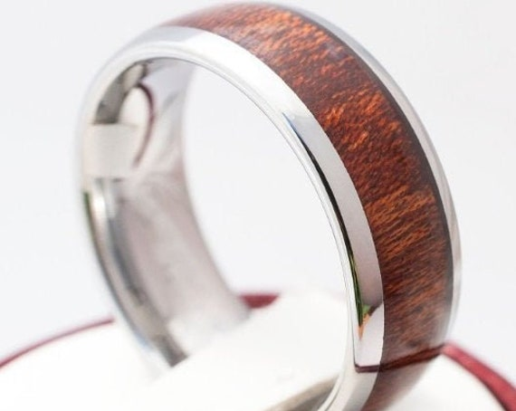 Men Tungsten Ring Wood Wedding Band Grey Shiny Polished 8MM Design His Her Size 5 to 15 Male Unique Anniversary Engagement Love Gift Idea