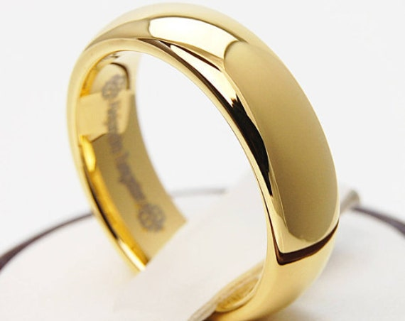 Tungsten Gold Ring Wedding Band Classic Polished Shiny Men Women 6MM Size 4 To 14 His Her Engagement Anniversary Love Male Female Gift