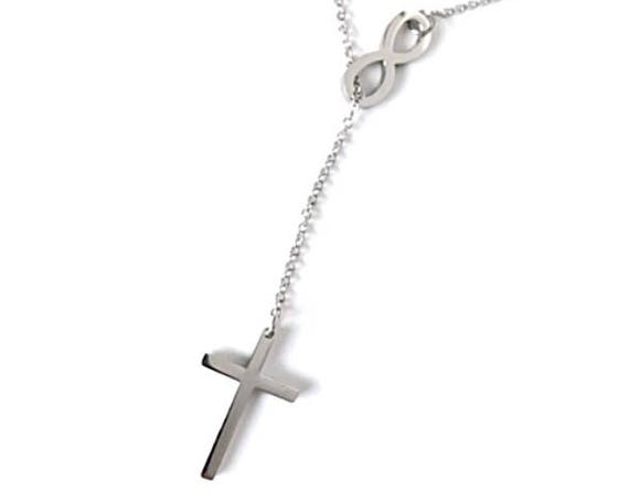 Infinity Cross Necklace Stainless Steel Beautiful Fashion Women's Small Charm Religious Jewelry Valentines Day Gift Shiny Silver Tone