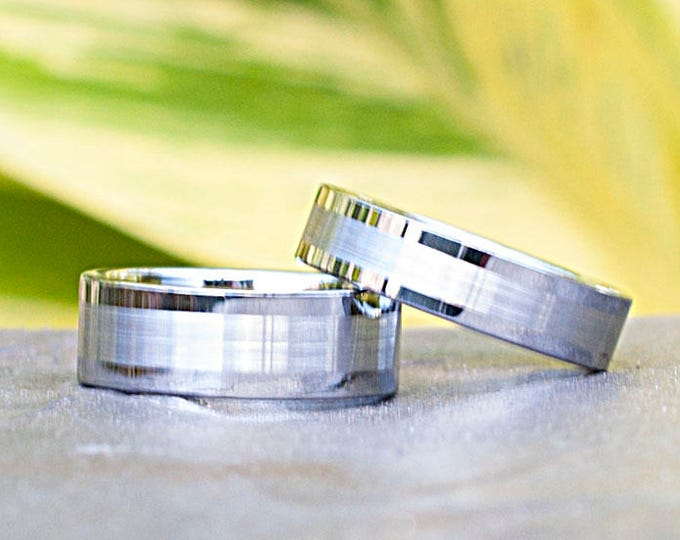 Men Tungsten Ring Women Wedding Band Classic Grey Brushed Design 8MM 6MM Size 6 to 14 His Her Anniversary Set Or Single Ring Love Gift
