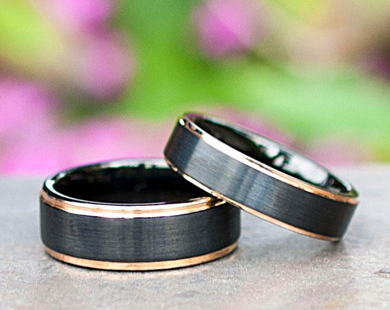 Tungsten Ring Men Women Black Matte Brush And Rose Gold Thin Line Wedding Band 8MM 6MM Size 4-15 Gift Set Or 1 Add Personal Engraving Opt