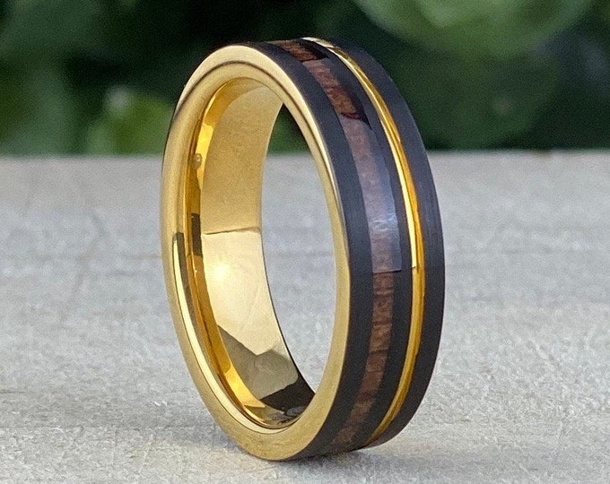 Gold Tungsten Ring Black Wood Inlay Men Women Wedding Band Yellow Groove 6MM Size 5 to 14 His Her Engagement Anniversary Love Gift Idea
