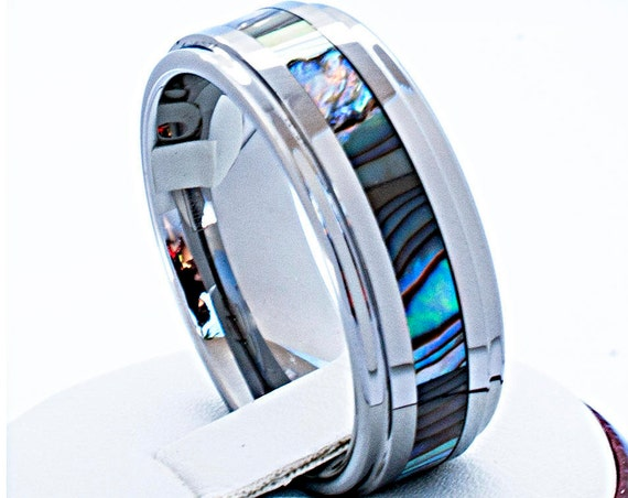 Tungsten Carbide Ring With Mother of Pearl Inlay Wedding Bridal Band Shiny Polished Design Men's Women's 8MM Size 6 to 14. Special Gift