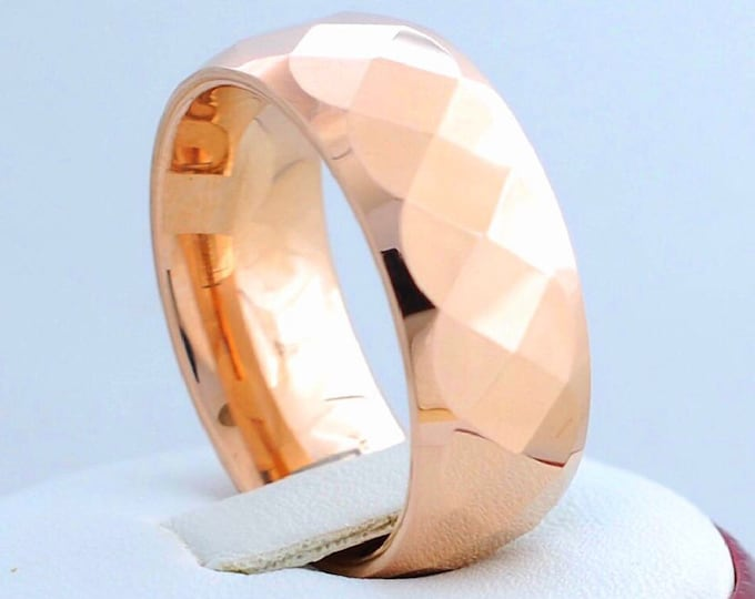Rose Gold Tungsten Ring Men Women 8MM Wedding Bridal Band Faceted Shiny Design Elegant Gift Size 6 to 14 Anniversary Promise His Her Gift