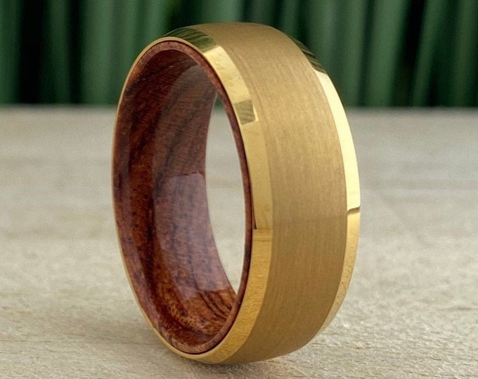 Wood In Yellow Gold Tungsten Ring Men Wedding Band Brushed Design 8MM Rosewood Sleeve Size 5 to 14 His Anniversary Engagement Promise Gift