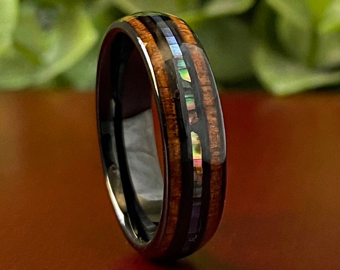 Black Tungsten Ring Wood Abalone Shell 6MM Wedding Band Pearl 3-Layer Inlay Size 4 to 14 His Her Anniversary Engagement Unique Gift Idea