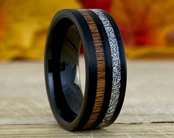 Black Tungsten Ring Wood Meteorite Inlay Men Wedding Band Brush 8MM Comfort Fit Size 5 - 14 Male Engagement Anniversary Christmas Gift Idea
