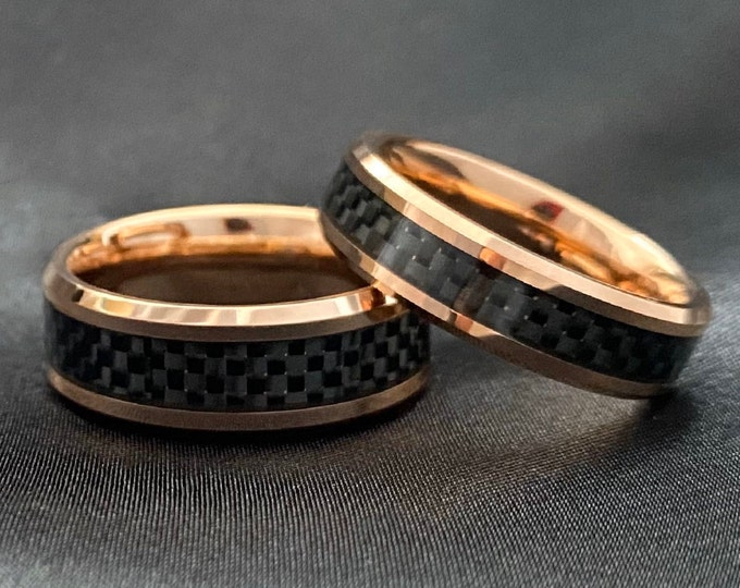 Rose Gold Tungsten Ring Black Inlay Men Women Set or Single Ring Wedding Band Comfort Fit 8MM 6MM Size 5 to 15 His Hers Duo Anniversary Gift