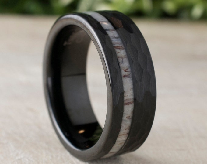 Black Hammered Tungsten Ring Deer Antler Wedding Band Mens 8MM Comfort Fit Design Size 5 to 14 Male Unique Fashion Anniversary Love Gift
