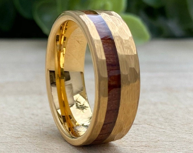 Mens Gold Hammered Tungsten Carbide Ring Wood Inlay 8MM Male Wedding Band Comfort Fit Size 5 to 14 His Anniversary Husband Promise Love Gift
