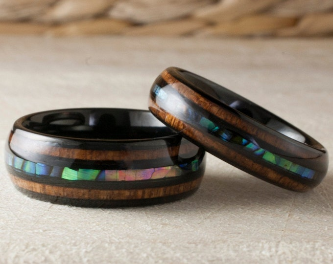 Black Tungsten Ring Wood Mother of Pearl Triple Inlay Set or 1  Wedding Band Abalone Shell Anniversary Duo 8MM 6MM Size 5 to 15 His Her Gift
