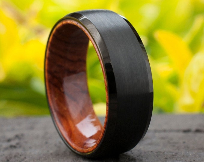 Wood Sleeve Tungsten Ring Black Wedding Band Brushed Rosewood Design Men 8MM Comfort Fit Sizes 5 to 15 Husband Anniversary Love Fathers Gift
