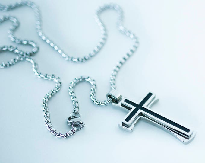 Cross Necklace Men's Pendant Silver Black Color Stainless Steel Box Style Chain Christian Religious Jewelry Valentine's Day Gift