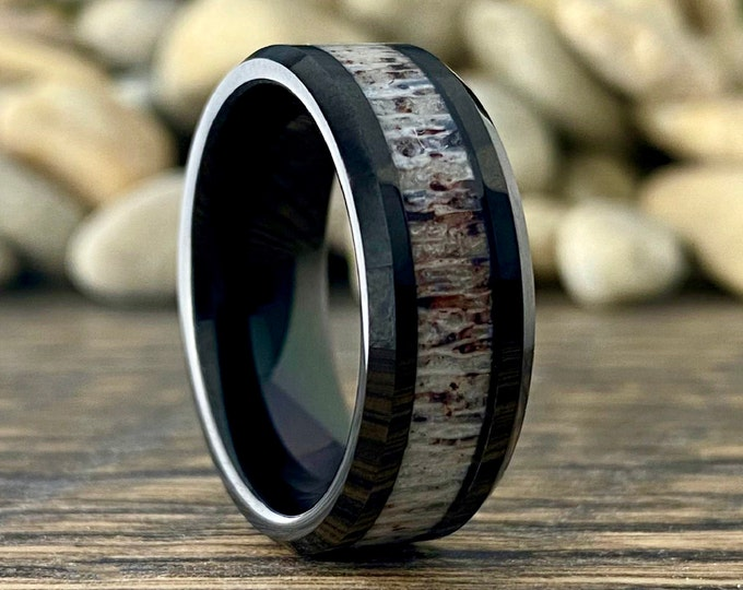 Black Tungsten Ring Deer Antler Wedding Band Men Polished 8MM Size 5 to 14 Male Exotic Proposal Anniversary Engagement Hunter Jewelry Gift