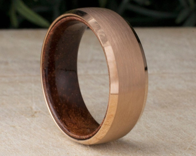 Rose Gold Tungsten Ring Wood Sleeve 8MM Male Wedding Engagement Band Brushed Design Men Comfort Fit Sizes 5 to 14 His Anniversary Gift Idea