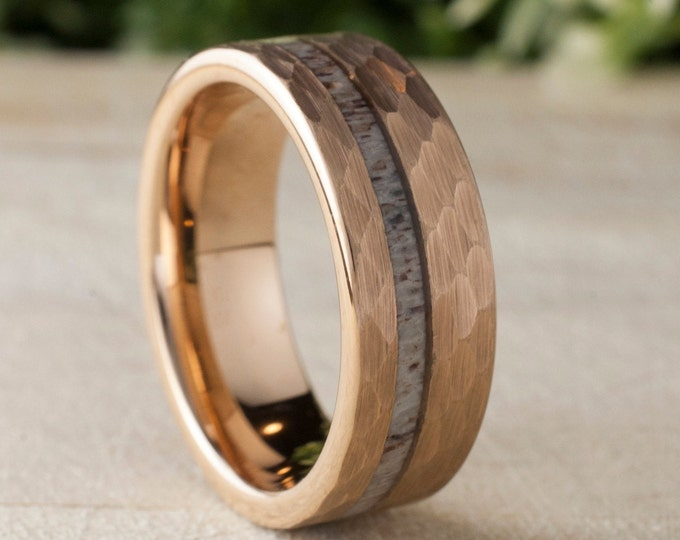 Deer Antler Hammered Rose Gold Tungsten Ring Mens Wedding Band 8MM Comfort Fit Design Size 5 to 14 Male Unique Anniversary Love Gift Idea