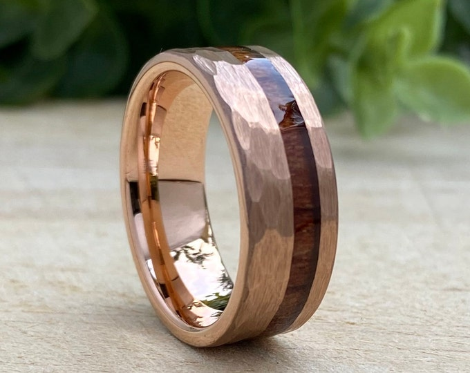 Rose Gold Hammered Tungsten Ring Wood Inlay Mens Wedding Band 8MM Comfort Fit Brushed Size 5 to 15 Male Unique Engagement Anniversary Gift