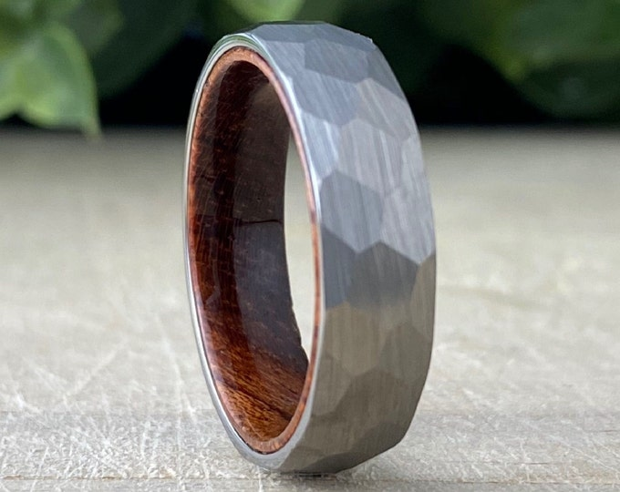 Hammered Grey Wedding Band Wood In Men Women Tungsten Ring Brushed Smash Design 6MM Size 5 to 14 His Her Unisex Anniversary Engagement Gift