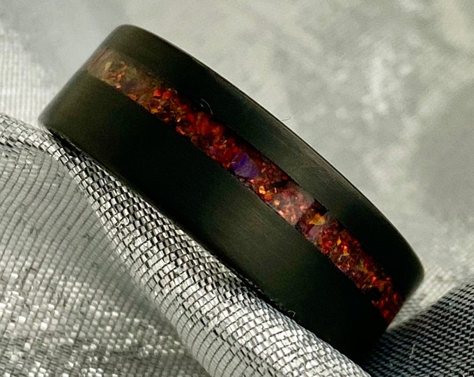 Black Tungsten Ring Red Opal Inlay Wedding Band Mens 8MM Brushed Comfort Fit Size 5 to 14 Male His Anniversary Engagement Special Gift