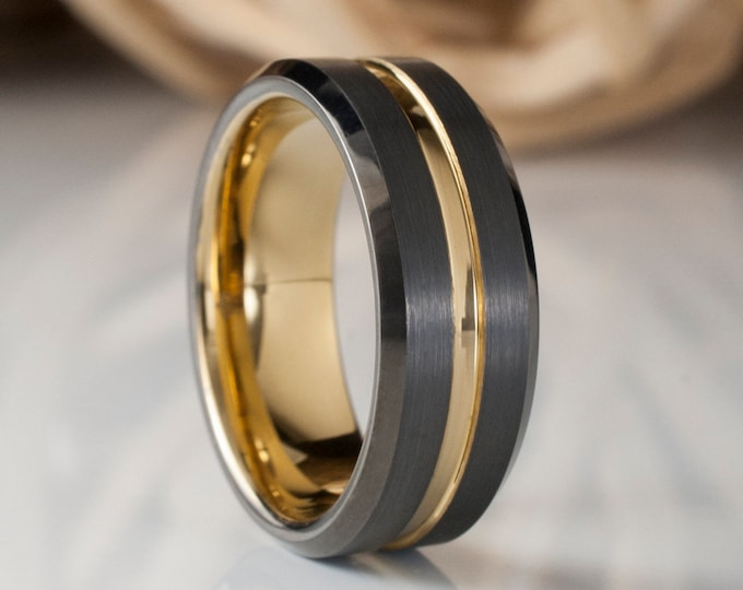 Gold Tungsten Ring Black Gunmetal Male Wedding Band Unique Men Comfort Fit 8MM Sizes 5 to 15 Circle Husband Anniversary Special Gift Idea