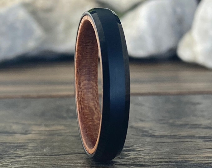 Wood Inside Black Tungsten Ring 4mm Thin Wedding Band Women Satin Rosewood Beveled Men Sizes 5 to 13 His Her Anniversary Unique Skinny Gift