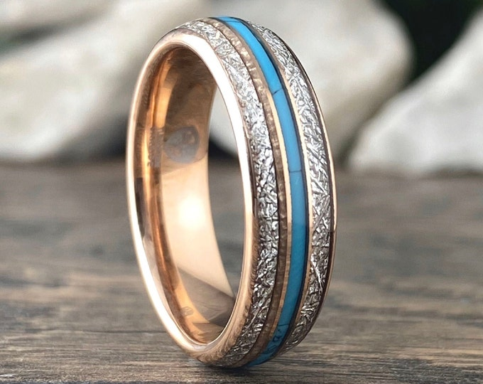 Meteorite Turquoise Rose Gold Wedding Band Men Women 6MM Tungsten Ring Size 5 to 14 His Her Shiny Anniversary Engagement Promise Love Gift