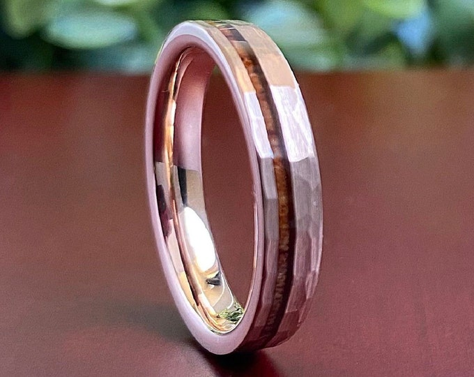 Thin Hammered Rose Gold Tungsten Ring Wood Inlay 4MM Women Men Wedding Skinny Band Brushed Size 4 to 14 His Her Anniversary Engagement Gift