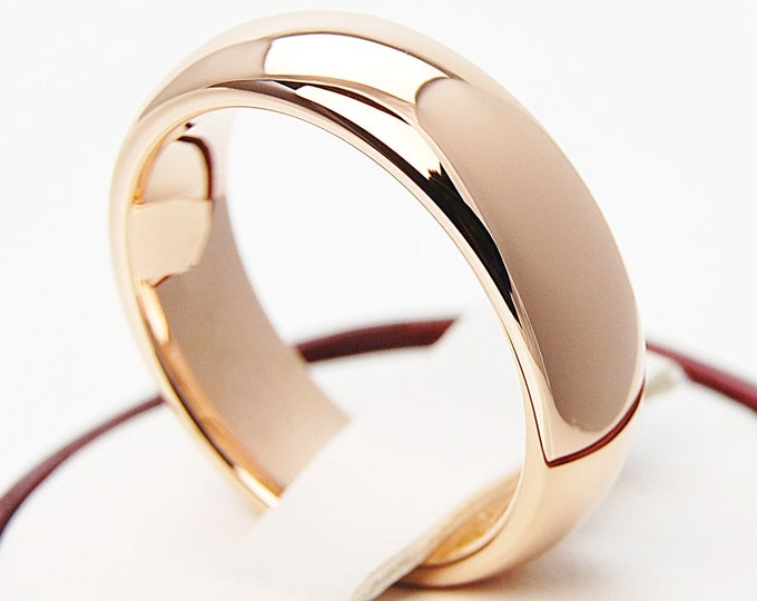 Rose Gold Tungsten Ring Men Women Wedding Band Classic Polished Shiny Design 6MM Size 4 5 6 7 8 9 10 11 12 13 14 His Her Anniversary Gift