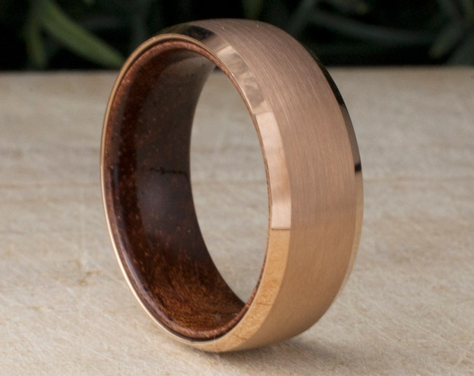 Rose Gold Tungsten Ring Wood Male Wedding Band 8MM Brushed Design Men Engagement Jewelry Comfort Fit Sizes 5 to 14 His Anniversary Gift Idea