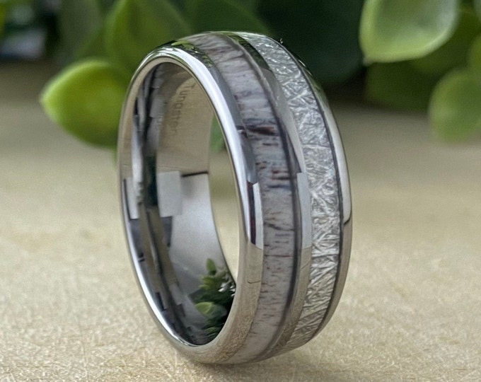 Tungsten Ring Men Women Wedding Band Deer Antler Meteorite Anniversary Engagement High Polish Design 8MM Size 5 to 15 Special Occasion Gift