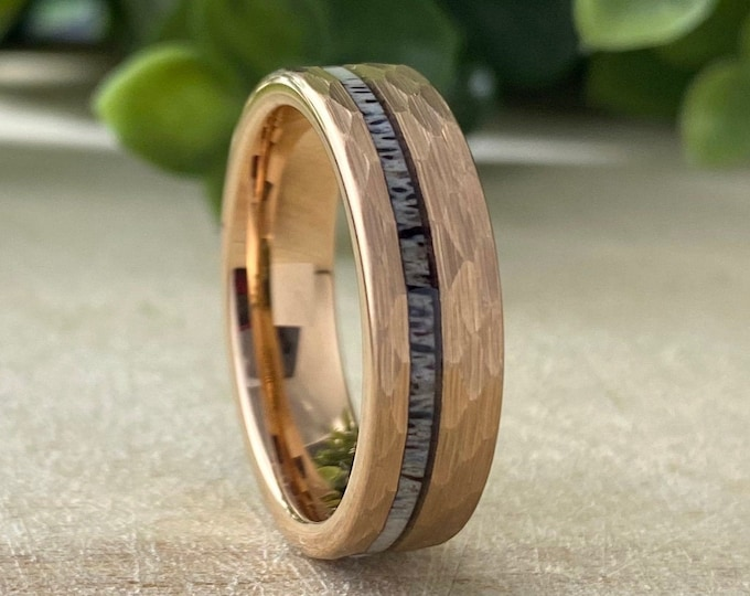 Rose Gold 6MM Deer Antler Hammered Tungsten Ring Men Women Wedding Band Comfort Fit Brush Size 5 to 14 His Hers Anniversary Engagement Gift