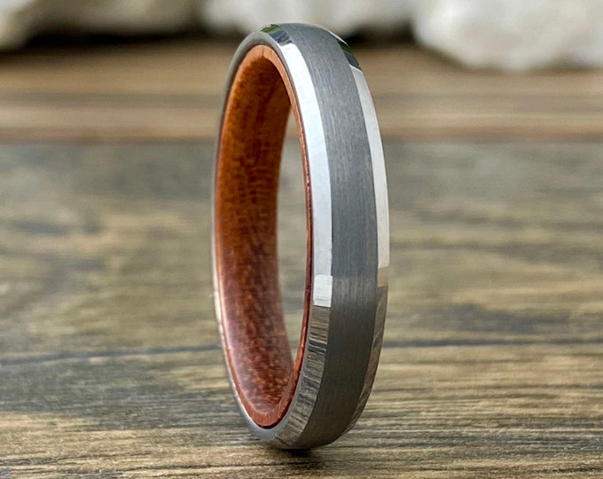 Rosewood Thin Grey Tungsten Ring 4mm Women Men Wedding Band Matte Skinny Wood Beveled Size 5 to 13 Anniversary Engagement Promise Gift Idea
