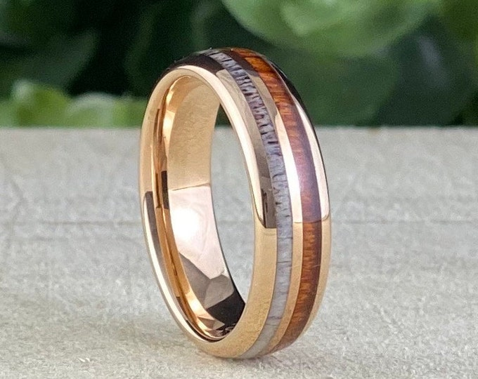6MM Wood Deer Antler Tungsten Ring Rose Gold Wedding Band Rose Gold Men Women 2-Inlay Domed Design Size 5 to 14 His Her Anniversary Gift