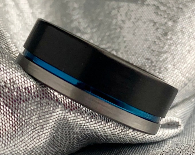 Men Black Grey Ring Blue Inlay His Tungsten Wedding Band Brush 8MM Size 5 to 14 Male Promise Anniversary Engagement Husband Fathers Day Gift