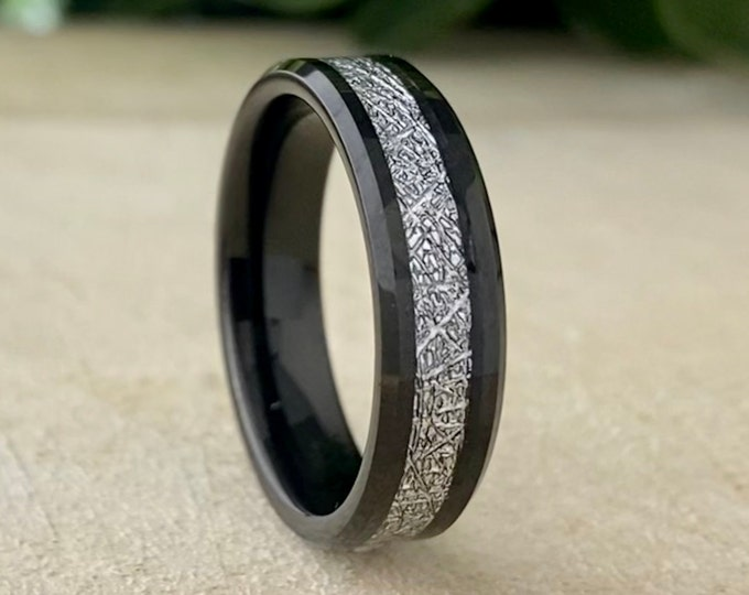 Meteorite Black Tungsten Ring Men Women Wedding Band Beveled 6MM Size 5 to 14 Male Anniversary Female Marriage Engagement Promise Love Gift