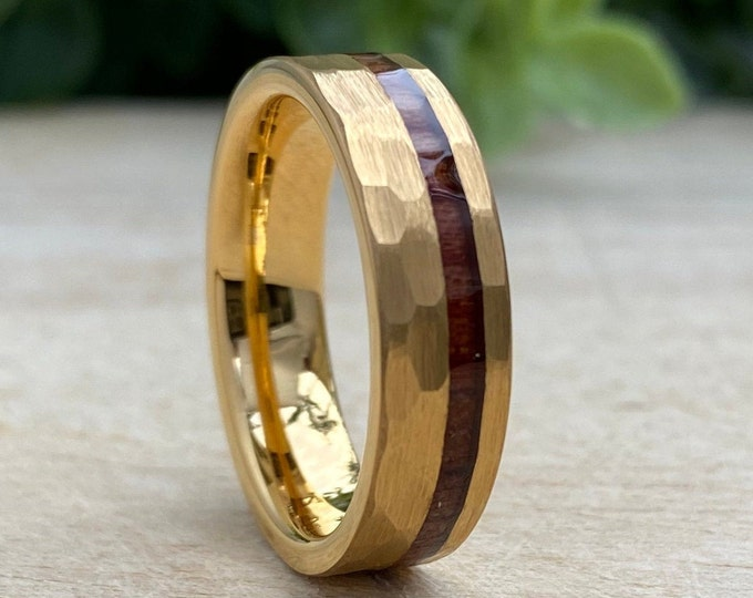 Yellow Gold Hammered Tungsten Ring 6mm Wood Inlay Men Women Wedding Band Comfort Fit Size 5 to 14 Husband Wife Anniversary Valentines Gift