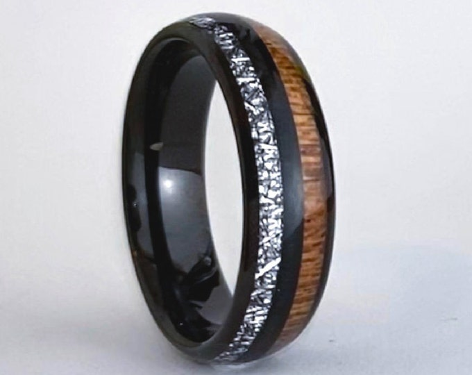 Wood Meteorite Tungsten Ring Men Women Black Wedding Band Polished Domed Design 6MM Size 5 - 14 His or Hers Anniversary Engagement Gift Idea