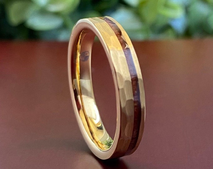 Gold Hammered Wedding Tungsten Ring Wood Inlay Thin 4MM Women Men Skinny Brushed Band Size 4-14 His Her Anniversary Engagement Promise Gift