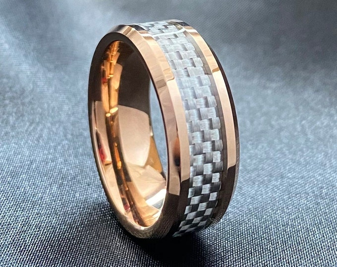 Rose Gold Tungsten Ring Men Wedding Band White Grey Carbon Fiber Inlay Beveled 8MM Size 5 to 14 His Her Great Male Anniversary Promise Gift