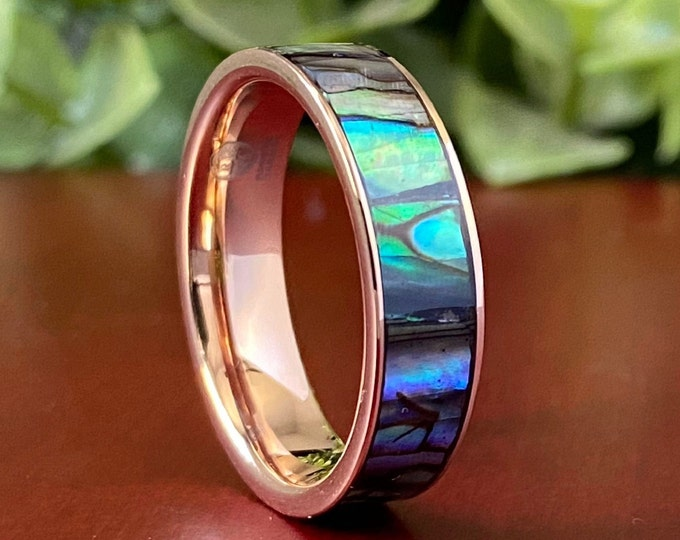 Mother of Pearl Tungsten Ring Rose Gold Wedding Band Men Women Abalone Shell 6MM Size 5 to 14 Great Anniversary His Her Engagement Promise