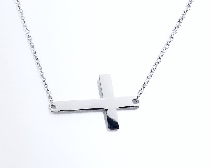 Cross Necklace Sideways Stainless Steel Women's Religious Fashion Jewelry Shiny Silver Color Valentines Day Gift With Free Shipping