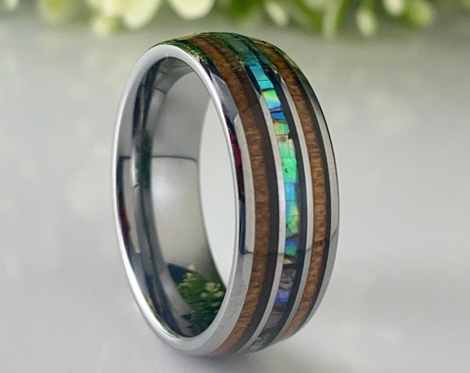 Men Wedding Band Wood Mother Of Pearl Grey Tungsten Ring 3-Inlay Size 5 to 14 His Her Abalone Male 8MM Anniversary Fathers Day Gift Idea