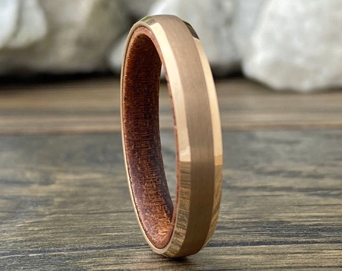 Rose Gold Slim Wedding Band Wood Inside Tungsten Ring Women Men 4MM Thin Matte Finish Sizes 5 to 13 Anniversary Engagement Unique Gift Idea