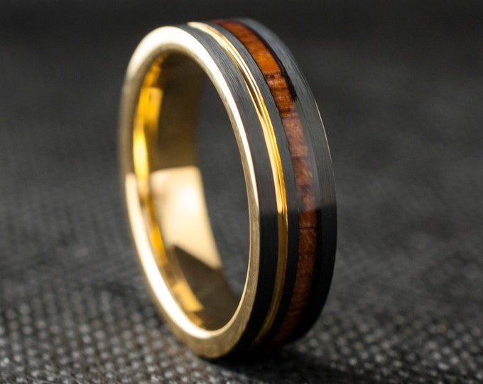 Gold And Black Tungsten Ring Wood Inlay Men Women Wedding Band Yellow Groove 6MM Size 5 to 14 His Her Engagement Anniversary Love Gift Idea