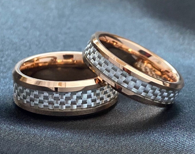 Rose Gold Tungsten Ring White Grey Mash Carbon Fiber Inlay Men Women Wedding Band Set Or 1 Ring Beveled Design 8MM 6MM Size 5 to 14 His Her