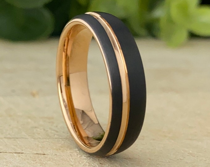 Rose Gold Tungsten Ring Men Woman Black Matte Brushed Wedding Bridal Band 6MM Size 4 5 6 7 8 9 10 11 12 13 14 Great His Her Anniversary Gift