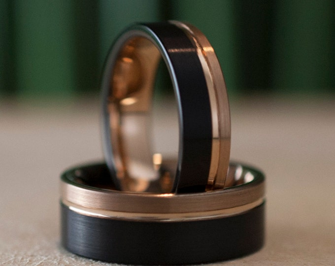 Rose Gold Black Tungsten Ring Men Women Wedding Band Set Or Ring Brushed Groove Comfort Fit 8MM 6MM Size 5 to 14 Anniversary His Hers Gift