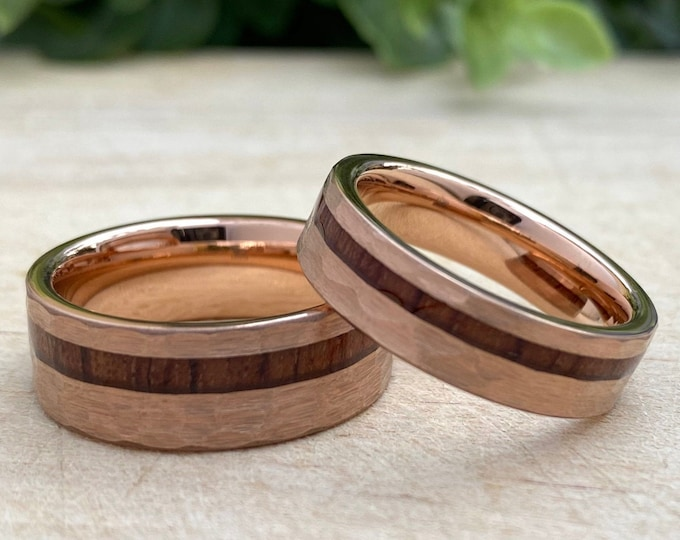 Rose Gold Hammered Tungsten Ring Set Wood Inlay His Her Wedding Band 8MM 6MM 4MM Size 4 to 14 Men Women  Anniversary Duo Or Single Love Gift