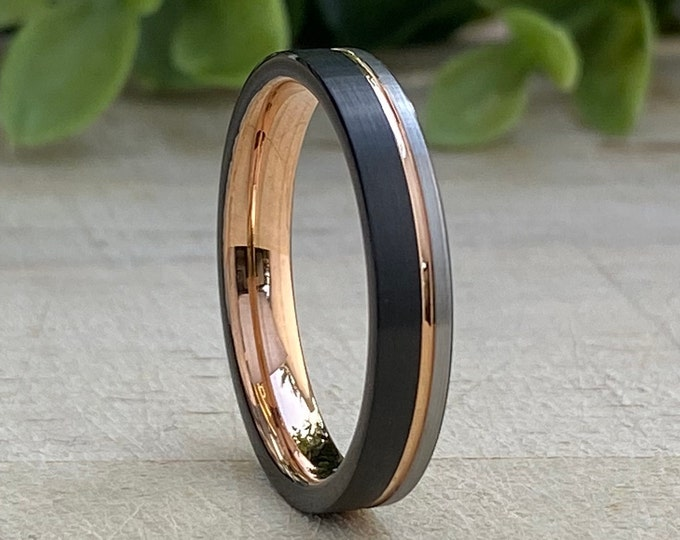 Rose Gold Tungsten Ring Black and Grey Thin 4MM Wedding Band Women Men Comfort Fit Sizes 4 to 14 His Her Anniversary Engagement Holiday Gift
