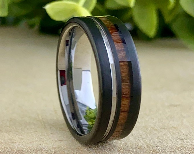 Men Grey Black Wedding Band Wood Tungsten Ring Groove 8MM Comfort Fit Male Design Size 5 to 14 Perfect Husband His Unique Anniversary Gift
